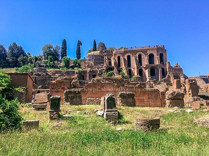 A Leisurely Walk at the Palatine Hill and Roman Forum (Rome, Italy).