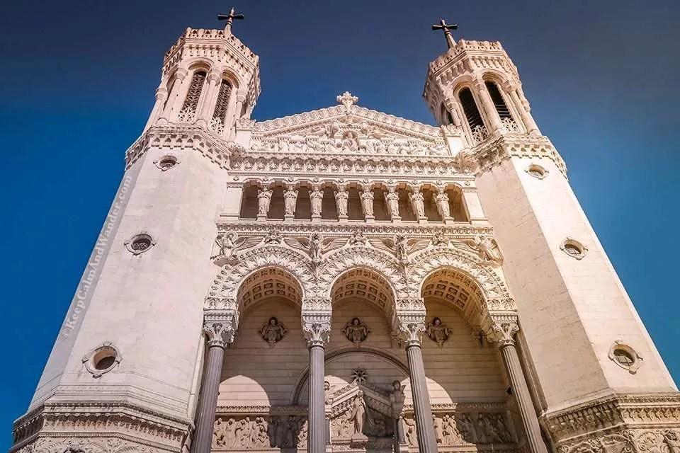 Exterior Basilica of Notre-Dame de Fourvière Guards the City of Lyon (France).