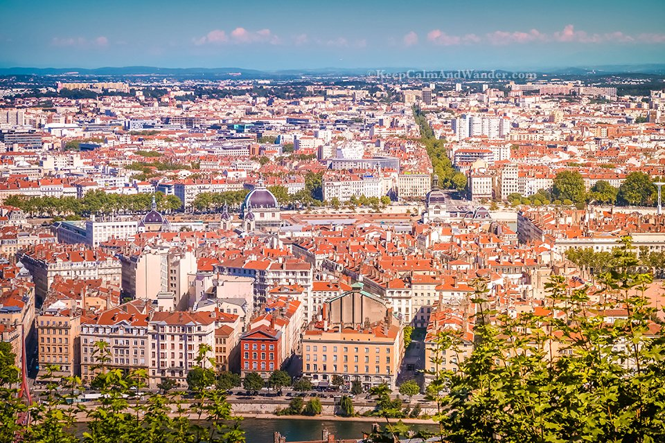 City Skyline: Lyon Panorama From the Hilltop (France).