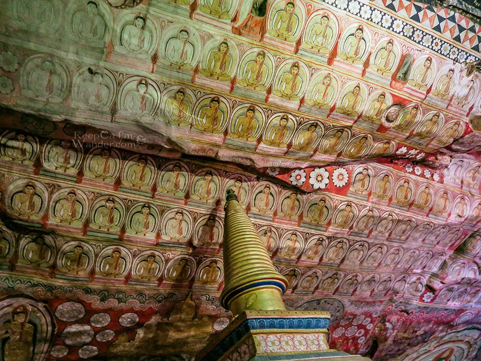 The Murals and Frescoes Inside the Dambulla Cave Temple (Sri Lanka).