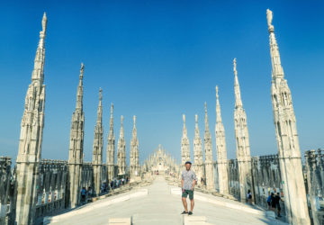 Skyline Views from the Top of Milan Duomo / Cathedral (Italy).