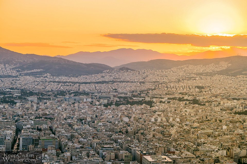 City Skyline: The View of Athens from Mt Lycabettus (Athens, Greece). Travel Blog Photos