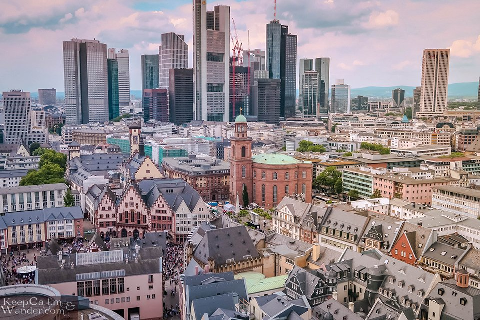 The Views from Kaiserdom (Cathedral Tower) in Frankfurt (Germany).