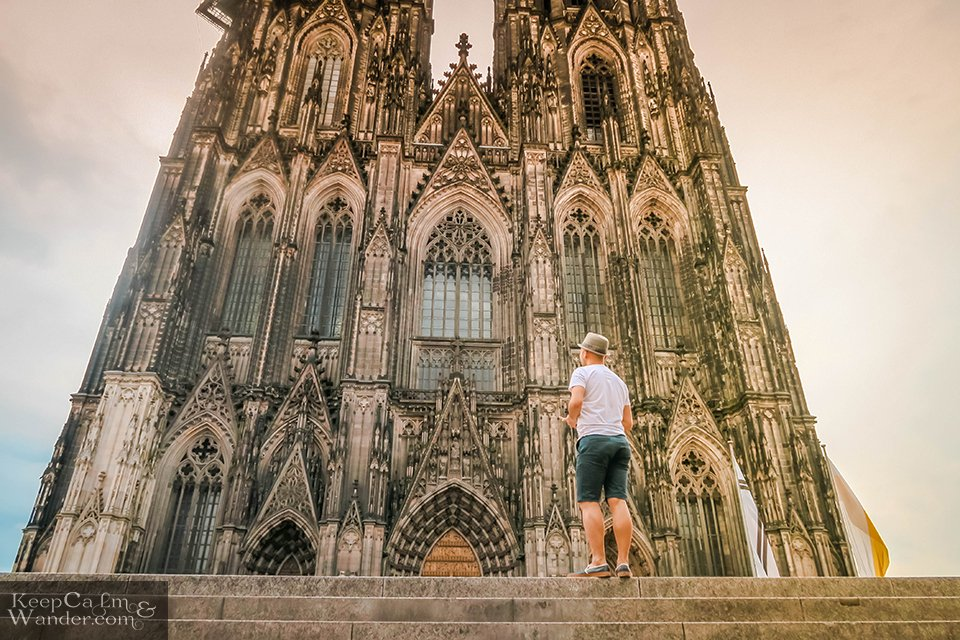 The Gothic facade of Kölner Dom is massive (Germany).