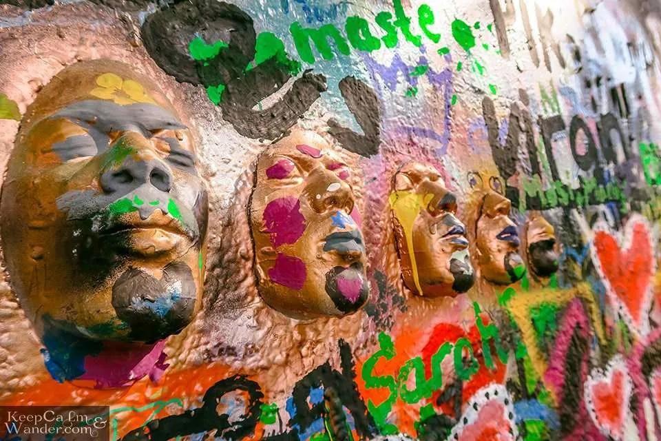 Sculpted Faces in Prague (Czech Republic).