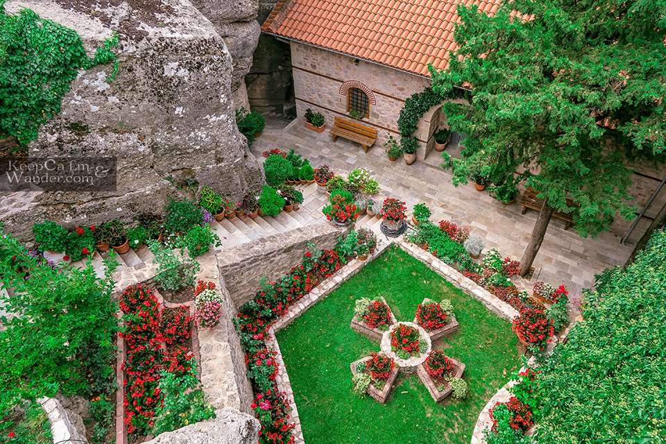 Inside Roussanou Monastery is also called Holy Monastery of Saint Barbara (Meteora, Greece).