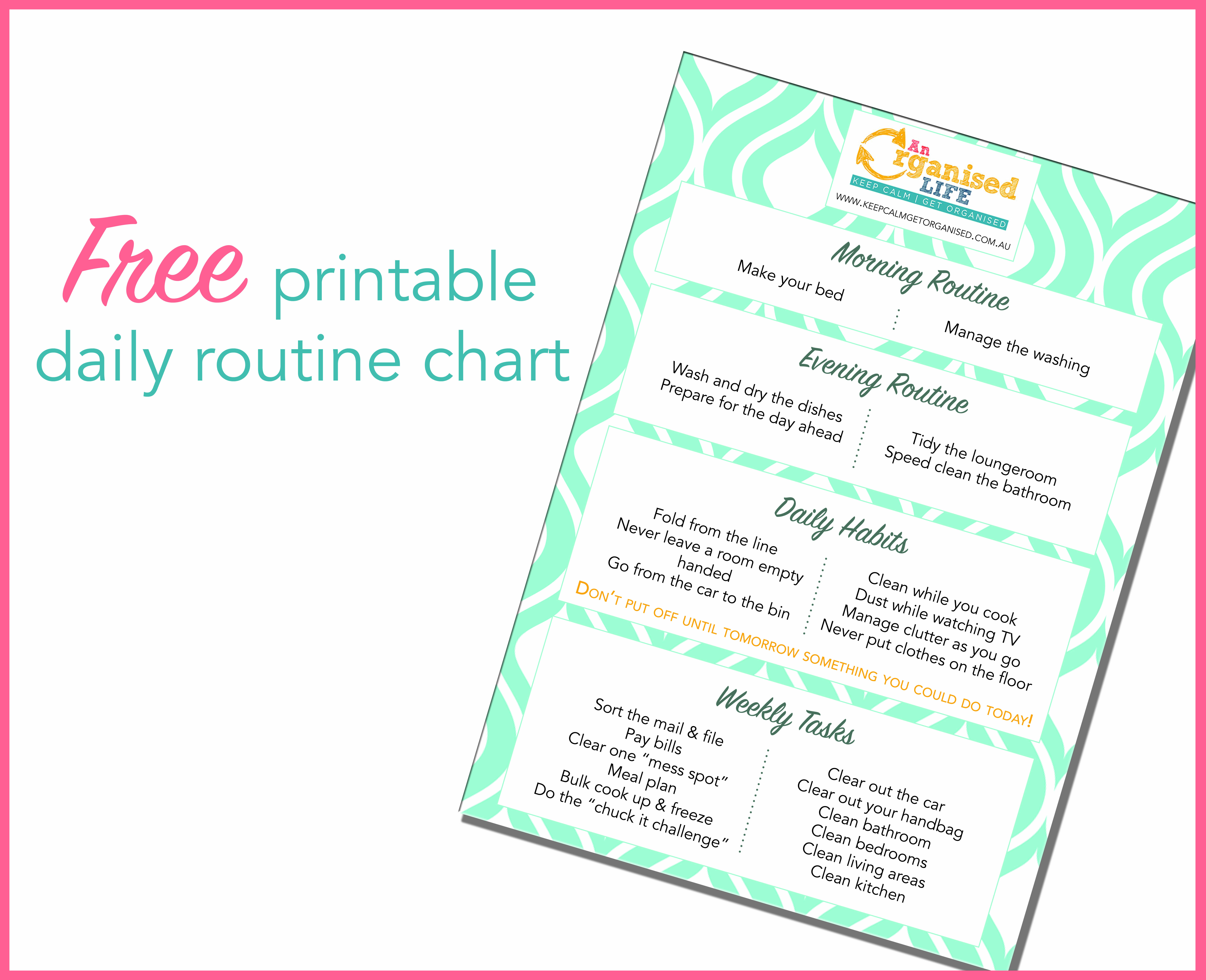 Free Blank Printable Daily Routine Chart
