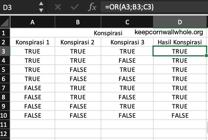 Rumus OR Excel