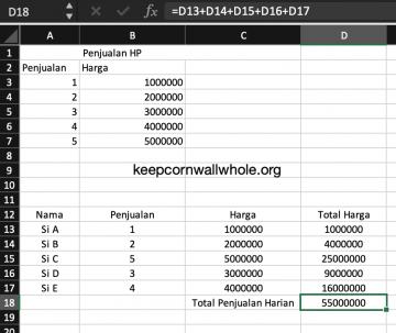 Rumus Excel Penjumlahan