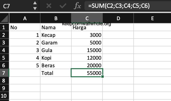Rumus SUM Excel