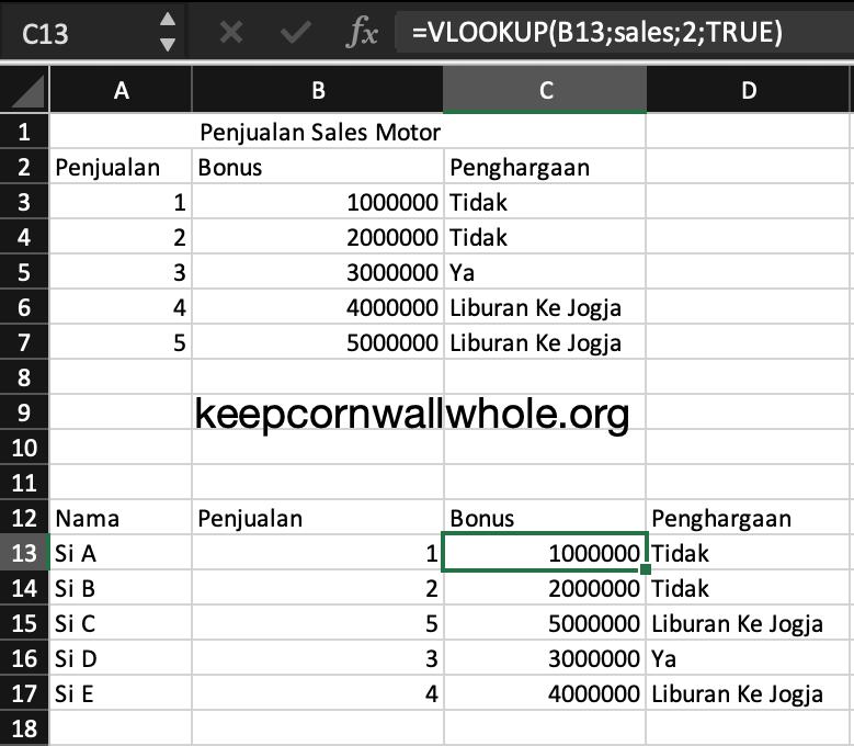 Rumus Excel VLOOKUP
