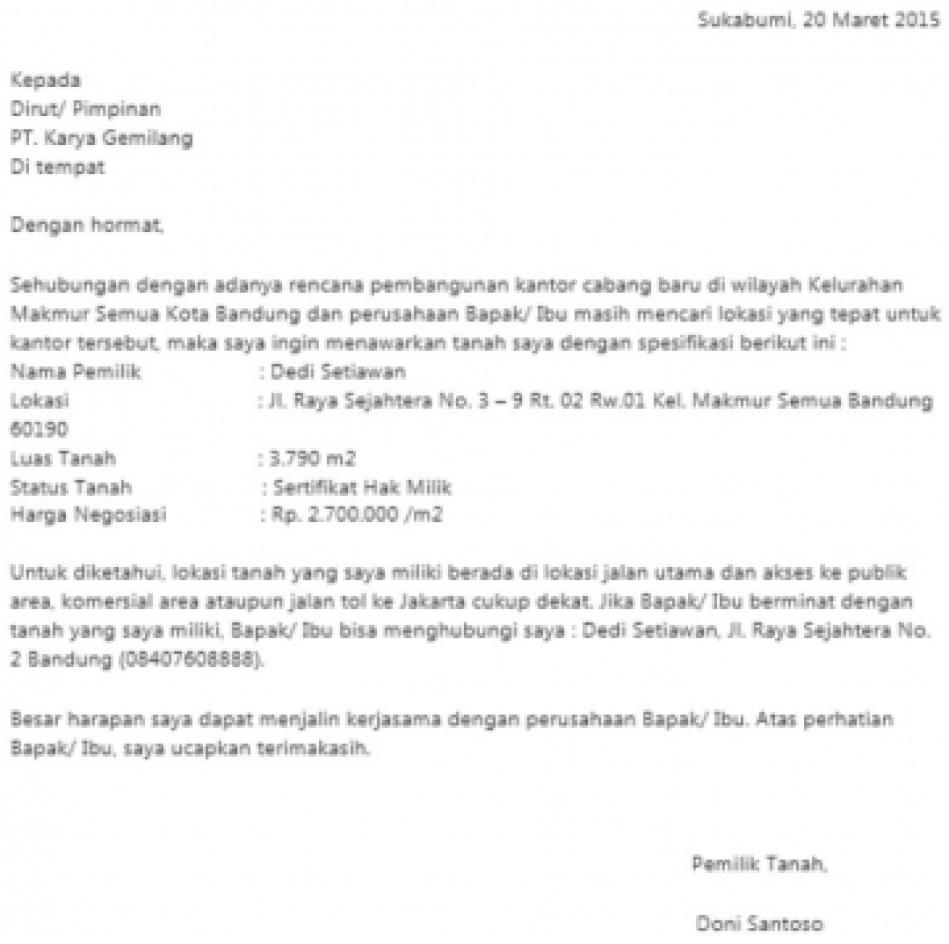 Contoh Surat Negosiasi