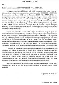 Contoh Motivation Letter Beasiswa Magang Masuk Organisasi Dll