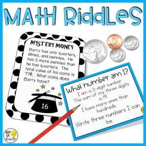 math riddle task cards to teach critical thinking