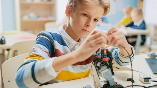 child building robot for passion project genius hour