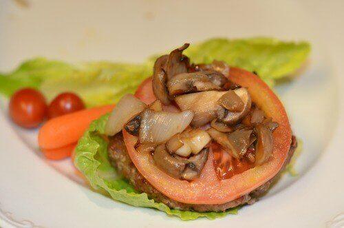 turkey burger on lettuce leaf