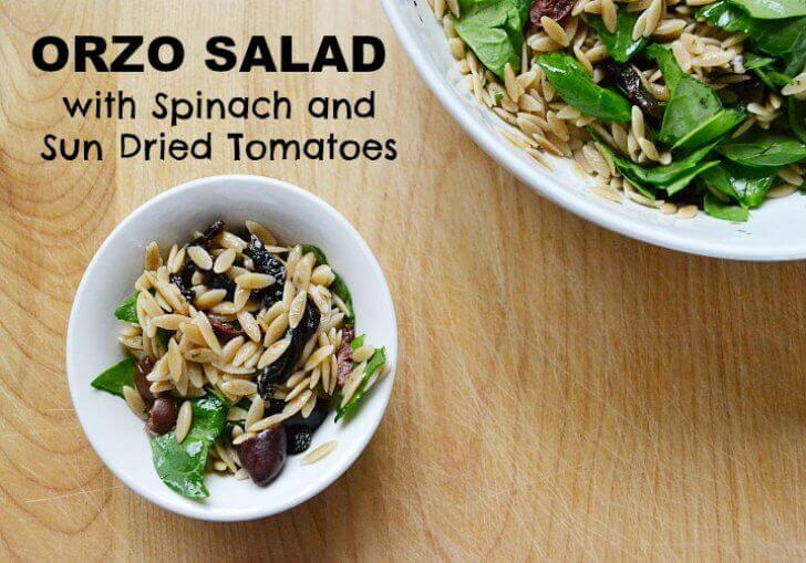 I love this recipe for orzo salad with spinach and sun dried tomatoes for many reasons. The dressing is simple, but the mediterranean flavors are always crowd pleasing!