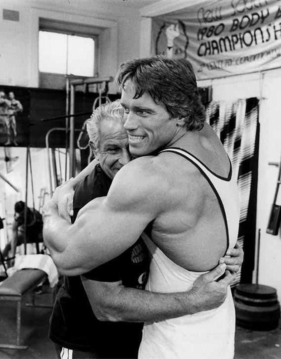 Arnold with Gold's Gym founder - Joe Gold