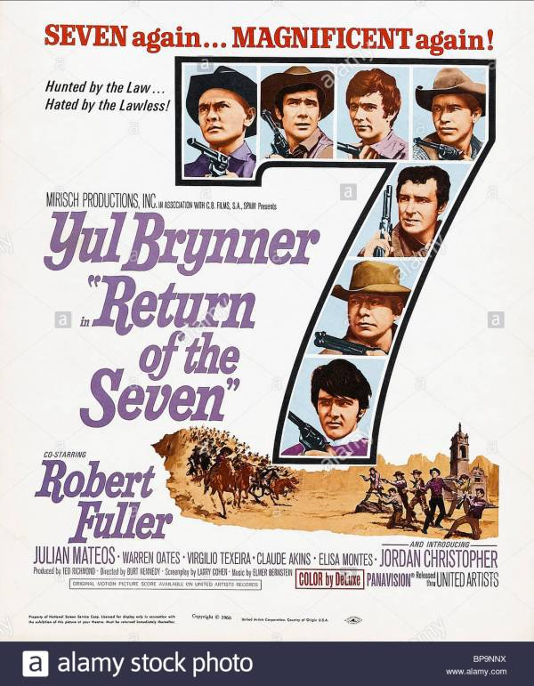 FILM POSTER Film 'RETURN OF THE MAGNIFICENT 7 ; RETURN OF THE MAGNIFICENT SEVEN' (1966) Directed By BURT KENNEDY 19 October 1966 SSV86474 Allstar Collection/UNITED A **WARNING** This photograph can only be reproduced by publications in conjunction with the promotion of the above film. For Editorial Use Only.