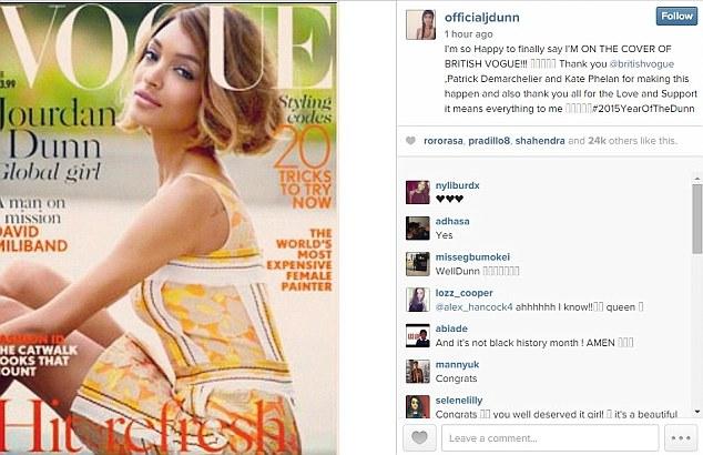 Jourdan Dunn Vogue UK Instagram Post