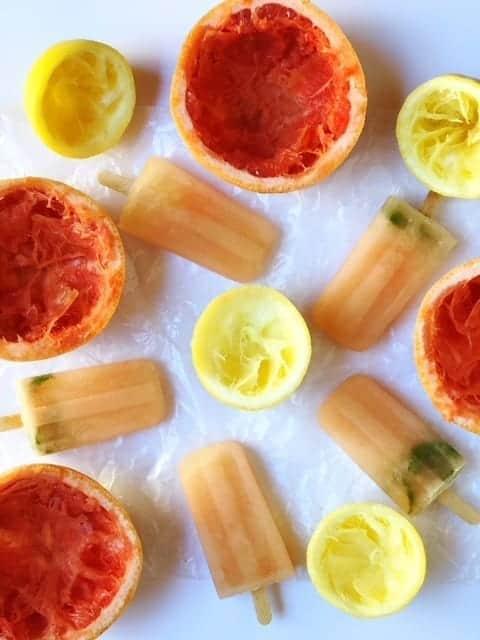 Grapefruit Lemon and Basil Popsicles