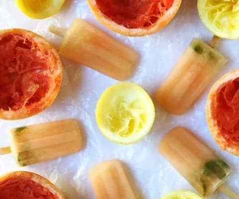 Grapefruit Lemon and Basil Popsicles