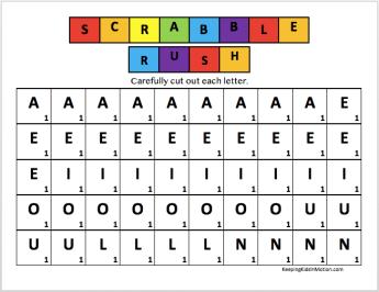 Scrabble Rush Scorecards 1