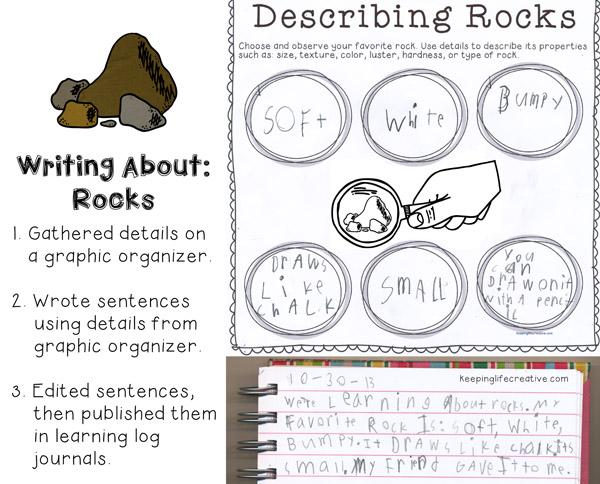 Describing Rocks writing activity