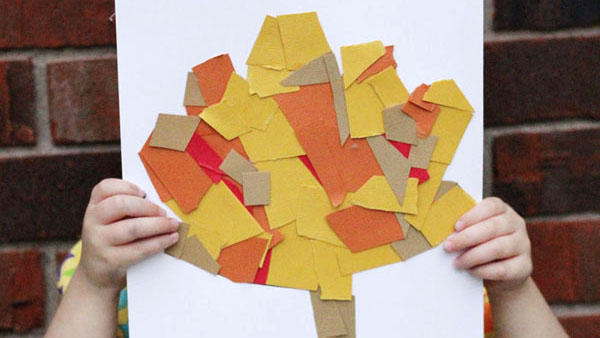 Cut-and-Paste Fall Leaf Collage for Kids