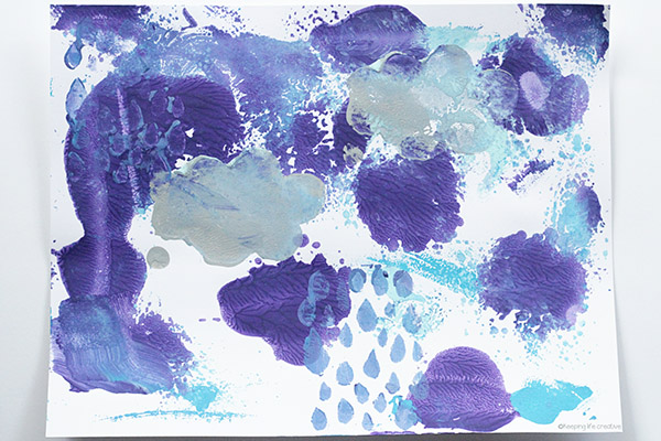 Rain Storm Art: monoprinted rain storm process art project for kids to make