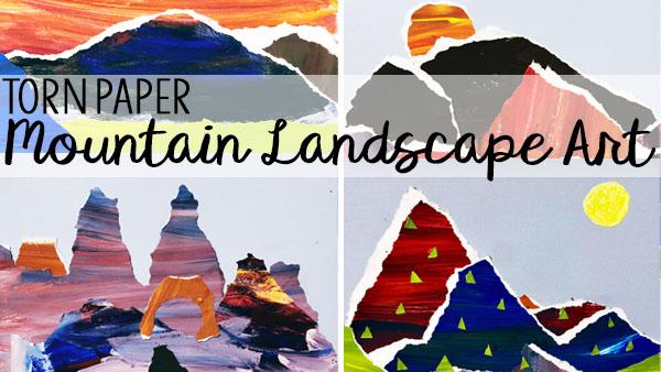 Torn Paper Mountain Landscape Art Tutorial