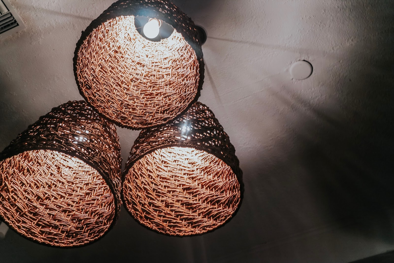 Woven basket light decor at boca in Tampa Florida