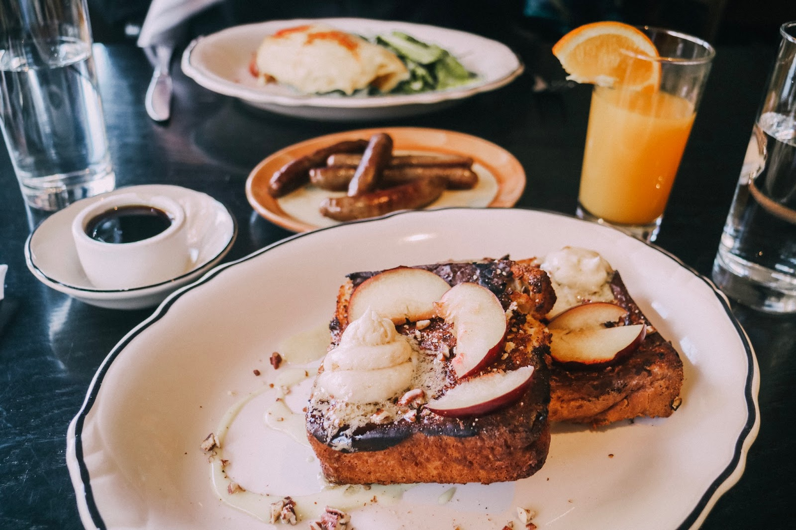 Hazelnut french toast at Heritage Tavern in Madison, Wisconsin