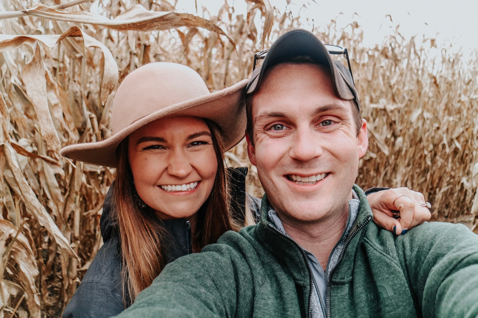 Tampa blogger and her husband in the corn fields at Schuster's Farm in Deerfield, Wisconsin