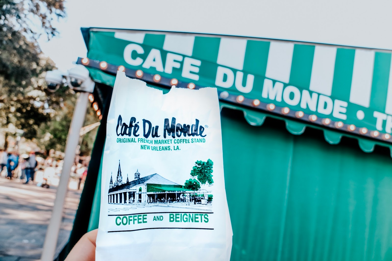 To go bag of beignets at Cafe du Monde in New Orleans