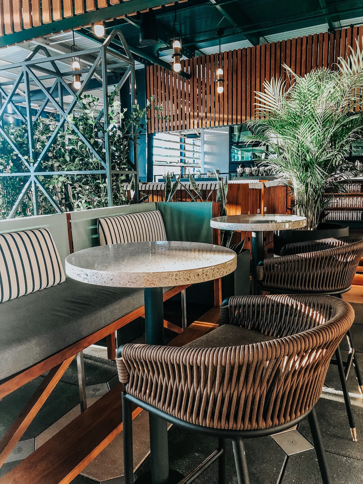 A view inside of M.Bird, the new rooftop bar on top of Armature Works in Tampa, Florida