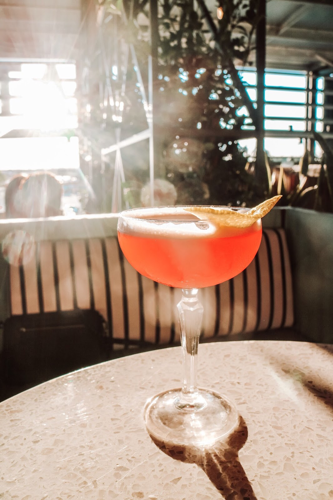 The Oobee Doo drink at M.Bird, the new rooftop bar on top of Armature Works in Tampa, Florida