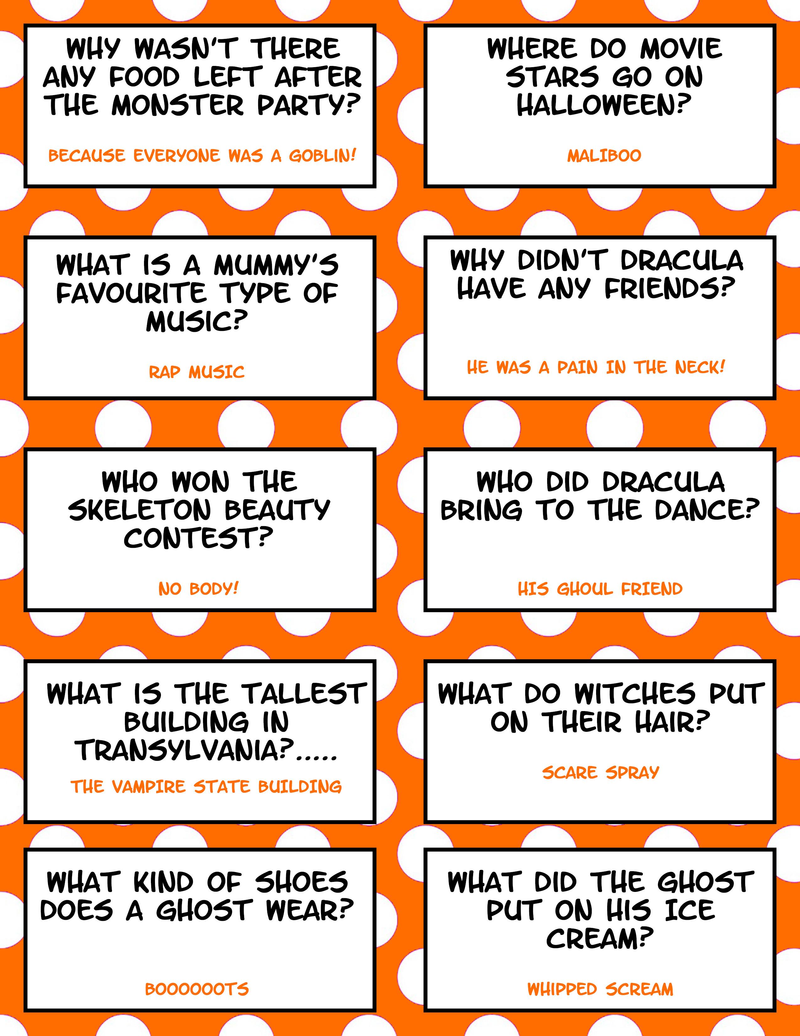 Free Printable Halloween Jokes For Kids Halloween Lunch
