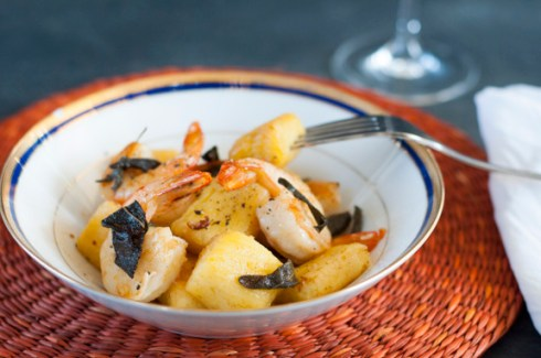 gluten free gnocchi with prawns