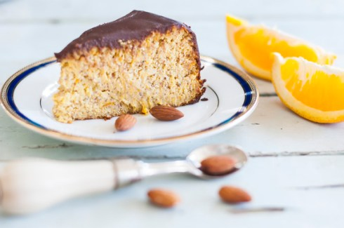 Gluten free orange cake with sugar free ganache