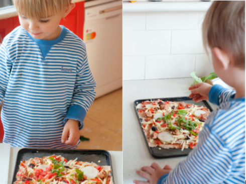 D Man preparing his own pizza