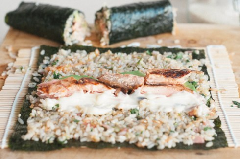 brown rice sushi rolling