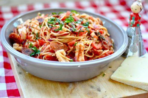 squid and chorizo pasta
