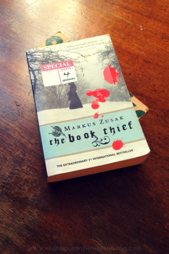 The Book Thief - Markus Zusak - book laid on wooden table - Keeping Up With The Penguins