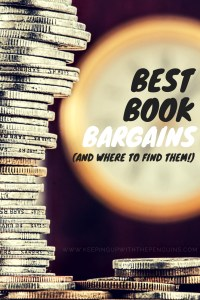 Best Book Bargains And Where To Find Them - Text overlaid on image of stacked coins - Keeping Up With The Penguins