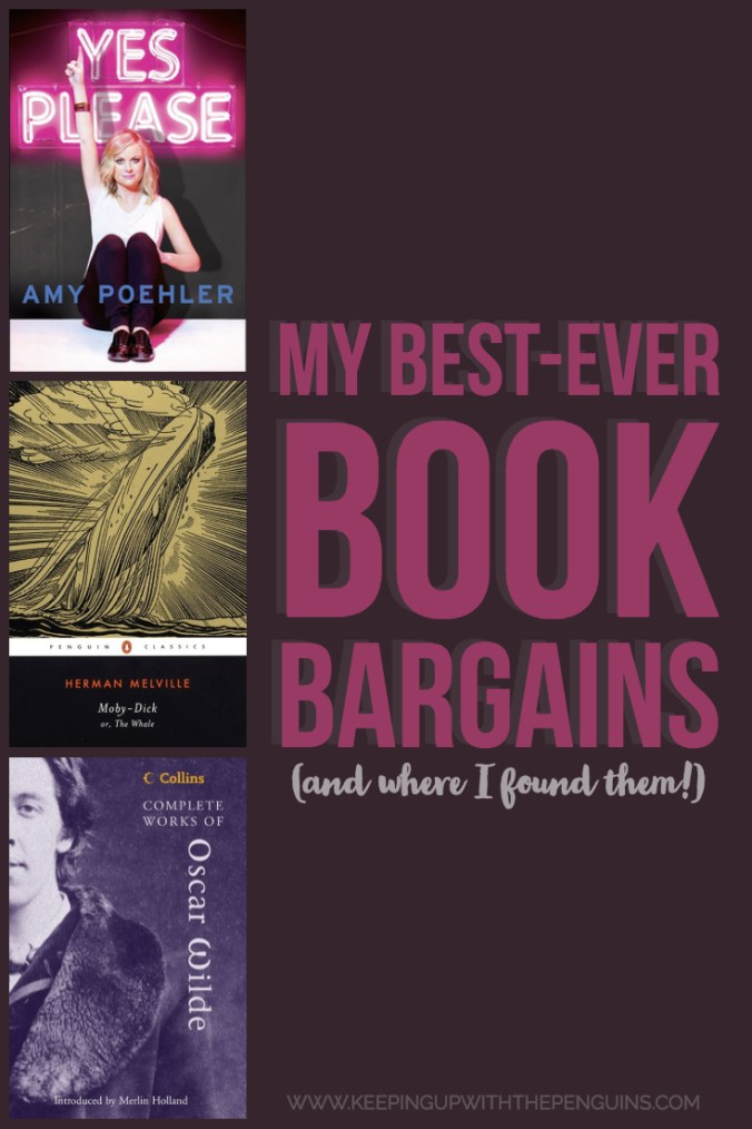 Best Book Bargains and Where To Find Them - Pink text on Purple Background, with Book Covers - Keeping Up With The Penguins