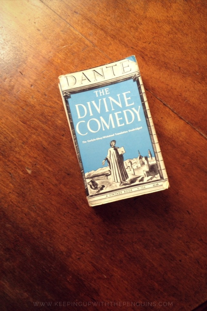 The Divine Comedy - Dante Alighieri - book laid on wooden table - Keeping Up With The Penguins