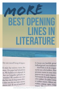 More of The Best Opening Lines In Literature - Text Overlaid on Image of Book Open In Front of Beach Horizon - Keeping Up With The Penguins