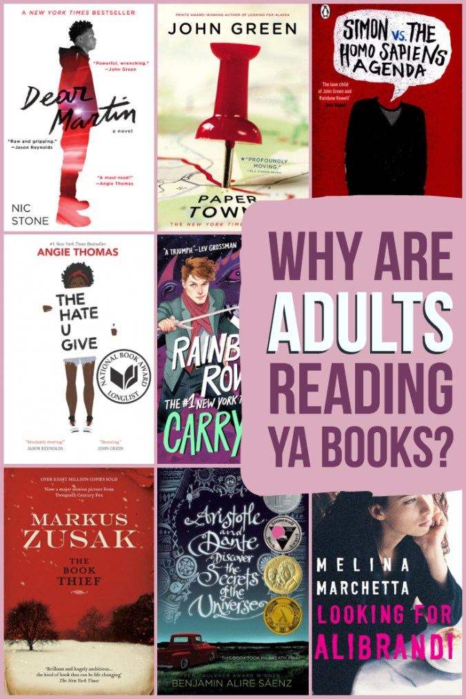 Why Are Adults Reading YA Books? Words in Purple and White Over a Collage of YA Book Covers and Pink Background - Keeping Up With The Penguins