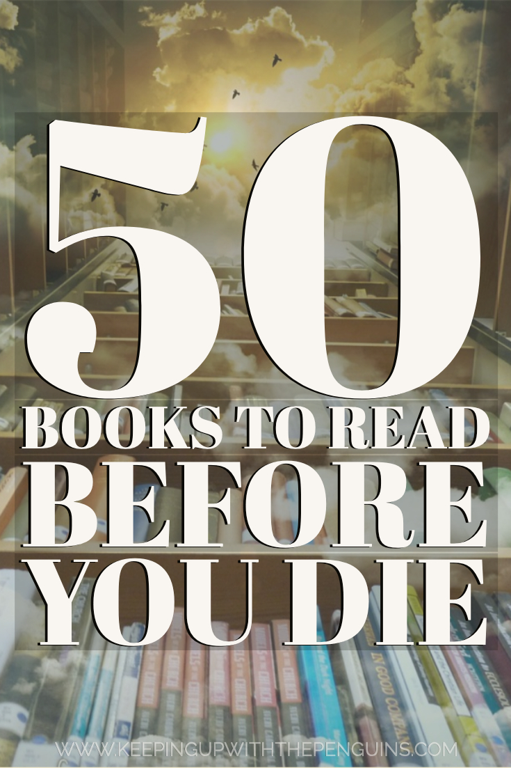 20 Books To Read Before You Die Text Overlaid on Bookshelves ...